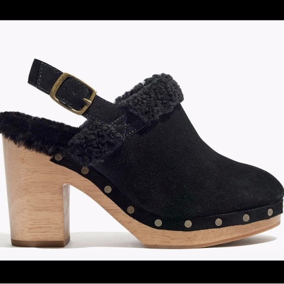 58ee9d6d03fd Madewell the lesley shearling suede slingback clog